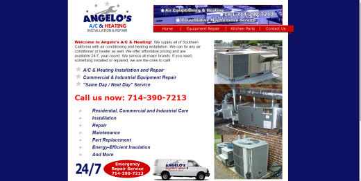 Updated from a kitchen repair theme to an A/C heating focus on AngelosER.com